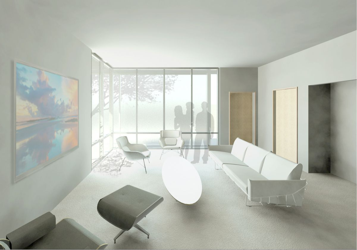 Rendering of an open living room with white walls, white sofa and coffee table, and a corner with floor to ceiling windows on both sides.