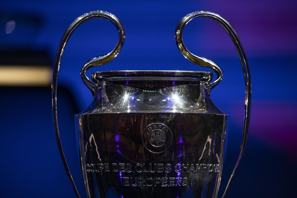 UEFA Champions League trophy displayed in Istanbul