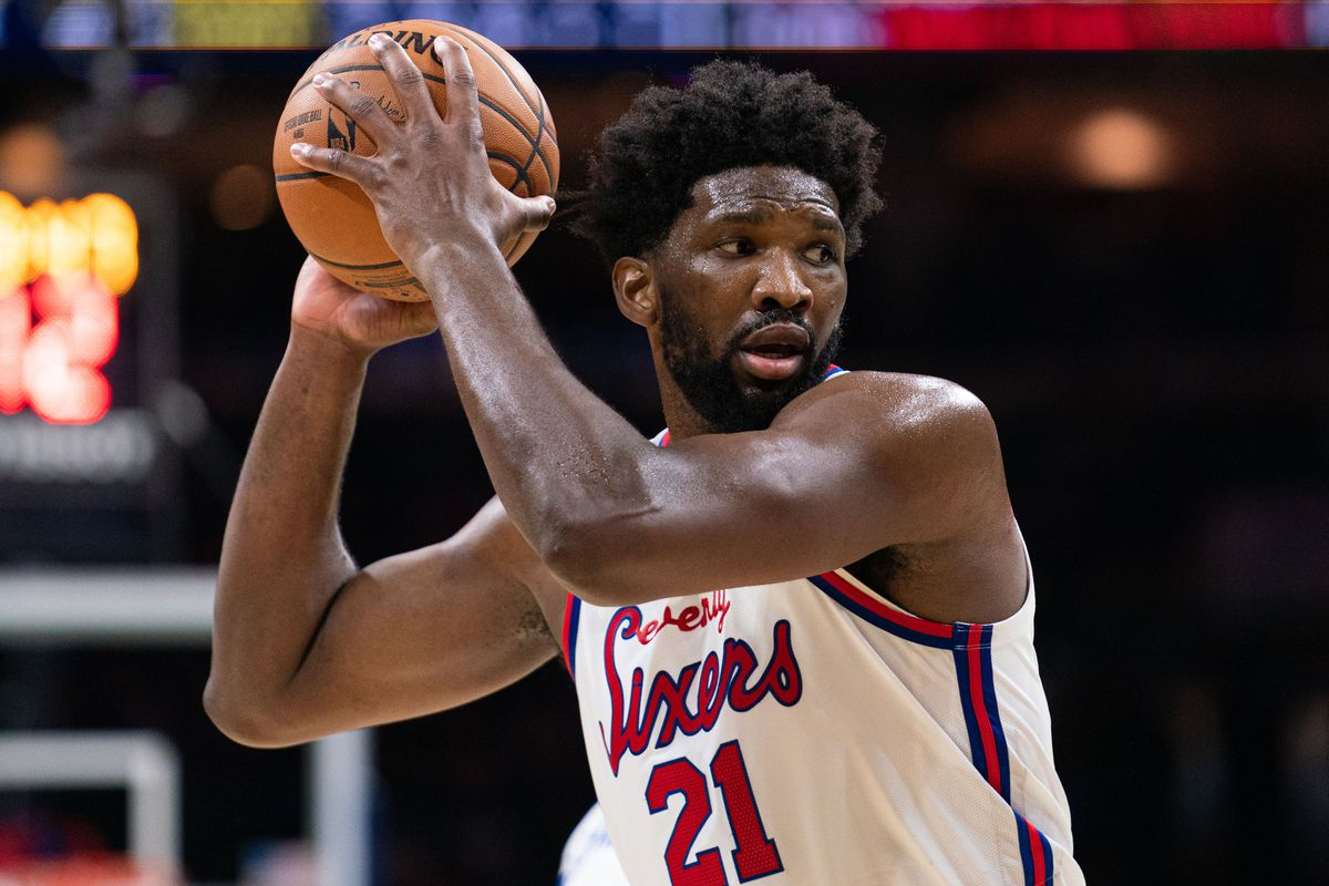 Philadelphia 76ers center Joel Embiid holds the ball during the fourth quarter against the New Orleans Pelicans at Wells Fargo Center.