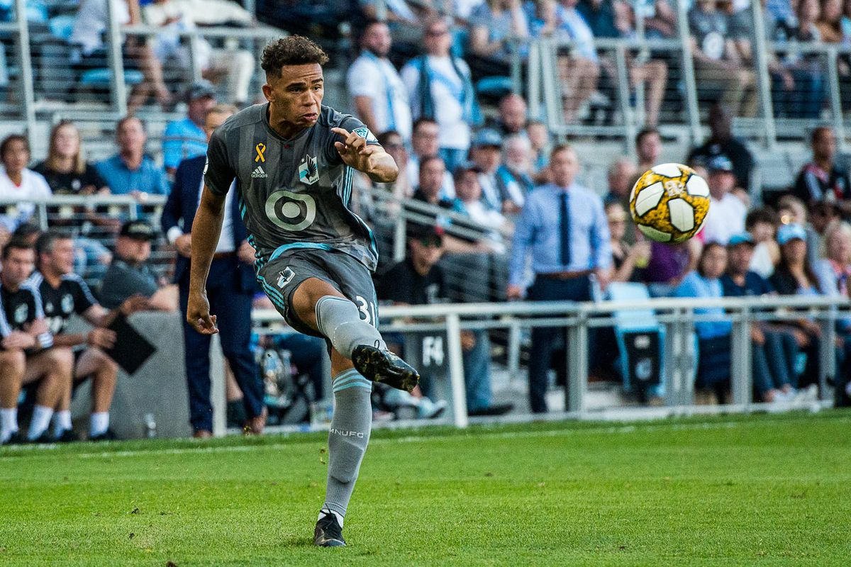 September 15, 2019 - Saint Paul, Minnesota, United States - Hassani Dotson septs a ball in during an MLS match between Minnesota United and Real Salt Lake at Allianz Field (Photo: Tim C McLaughlin)