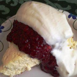 Rustic raspberry-topped custard pie