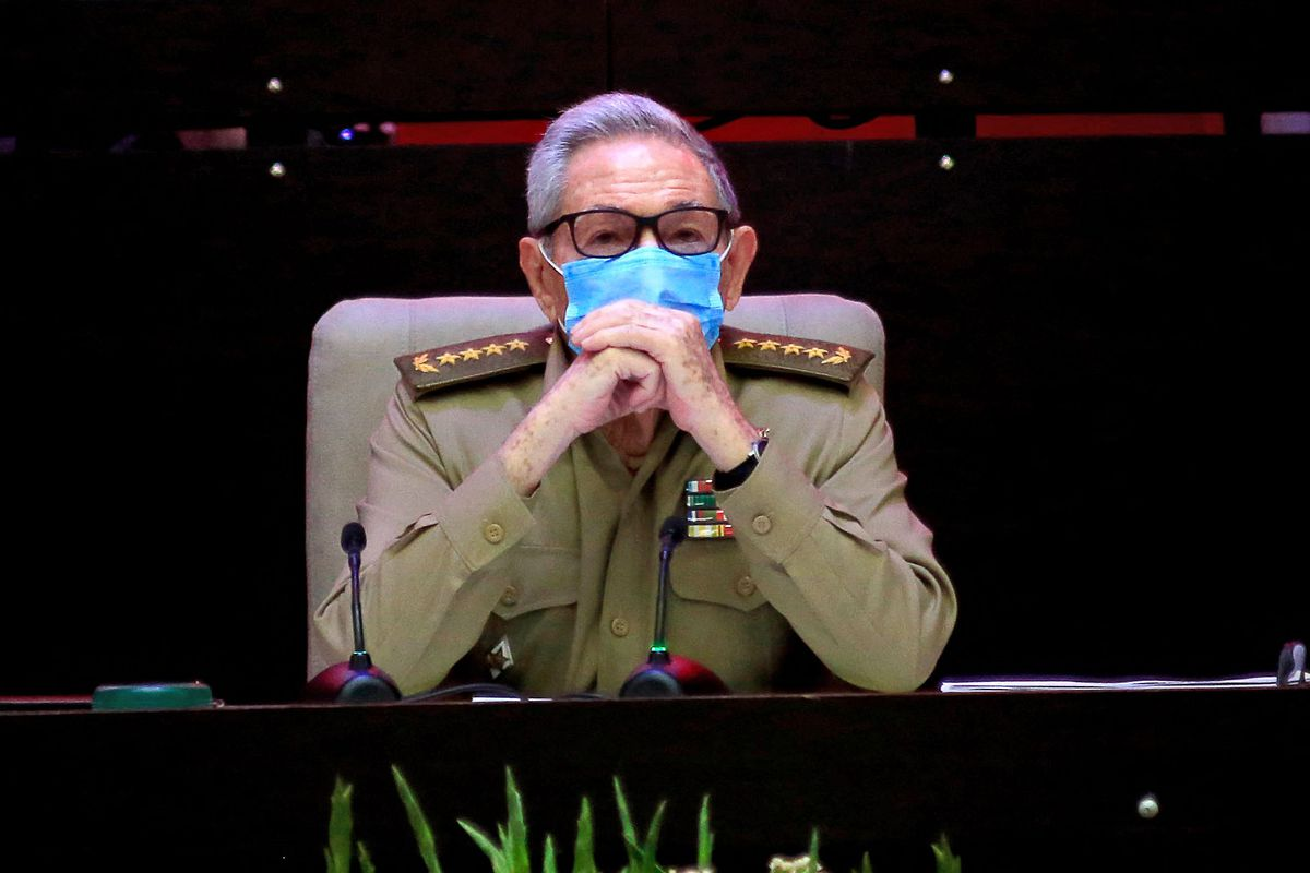 Picture released by Cuban News Agency (ACN) of Cuban First Secretary of the Communist Party Raul Castro attending the opening session of the 8th Congress of the Cuban Communist Party at the Convention Palace in Havana, on April 16, 2021.