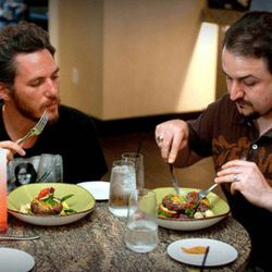Pondering Chef Gray's Garden Burger — definitely a knife-and-fork burger.