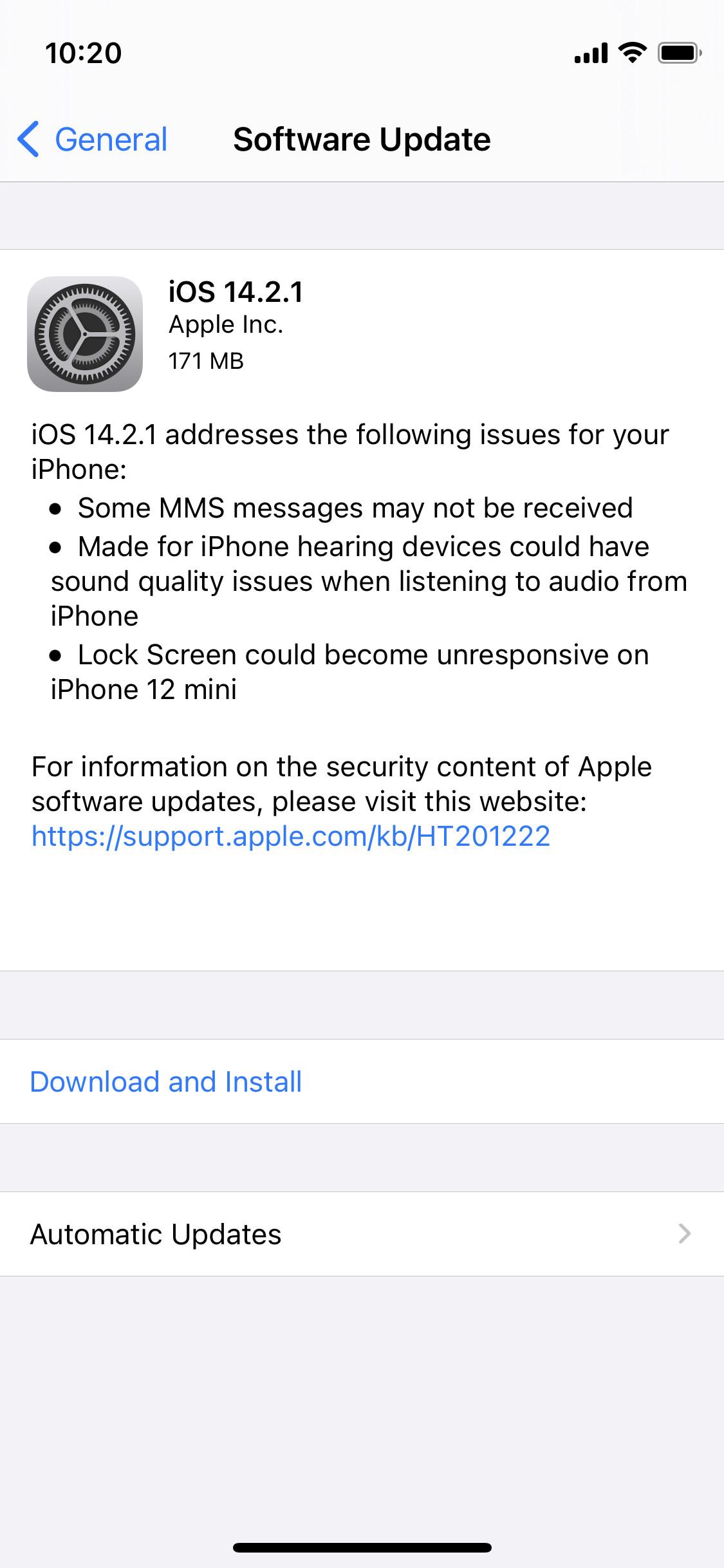 Apple iPhone 12 Mini iOS 14.2.1 atualização