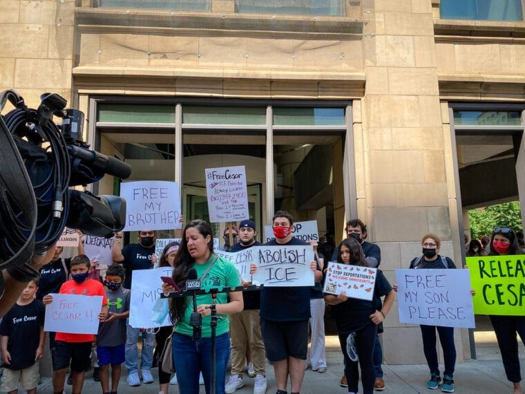 Xanat Sobrevilla at a news conference outside of the U.S. Citizenship and Immigration Services field office in downtown Chicago, urging the release of Cesar Elizarraraz.