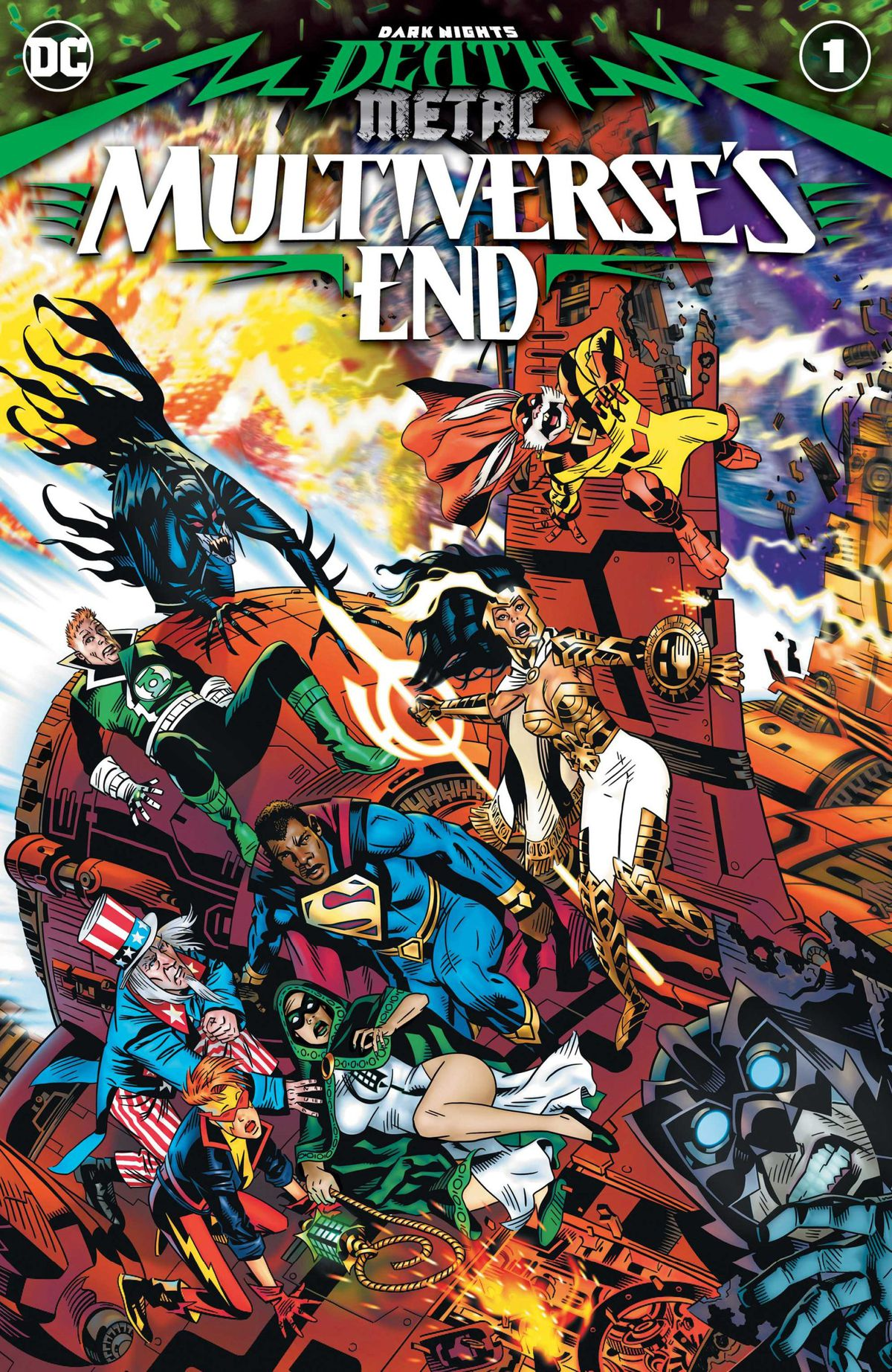 President Superman, Captain Carrot, Guy Gardner, Uncle Sam, Owlman, Vampire Batman and more cling to the side of a structure for their lives, on the cover of Dark Nights: Death Metal Multiverse's End, DC Comics (2020).