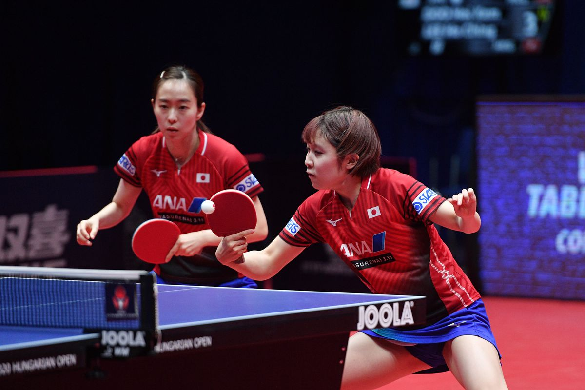 Japan's Miu Hirano and Kasumi Ishikwa play against Hong Kong's Hoi Kem Doo and Ho Ching Lee (not pictured) on February 22, 2020 during their women double final at the ITTF World Tour competition in Budapest, Hungary.