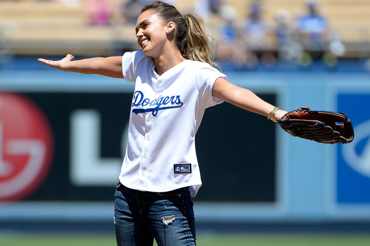 Jessica Alba threw out the first pitch. The way the game went, the Dodgers should have let her start.