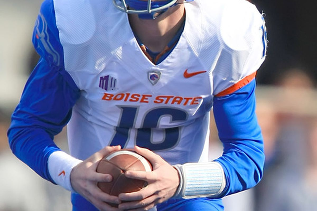 April 16, 2012; Boise, ID, USA; Boise State Broncos quarterback Joe Southwick (16) during the spring game at Bronco Stadium.  Mandatory Credit: Brian Losness-US PRESSWIRE