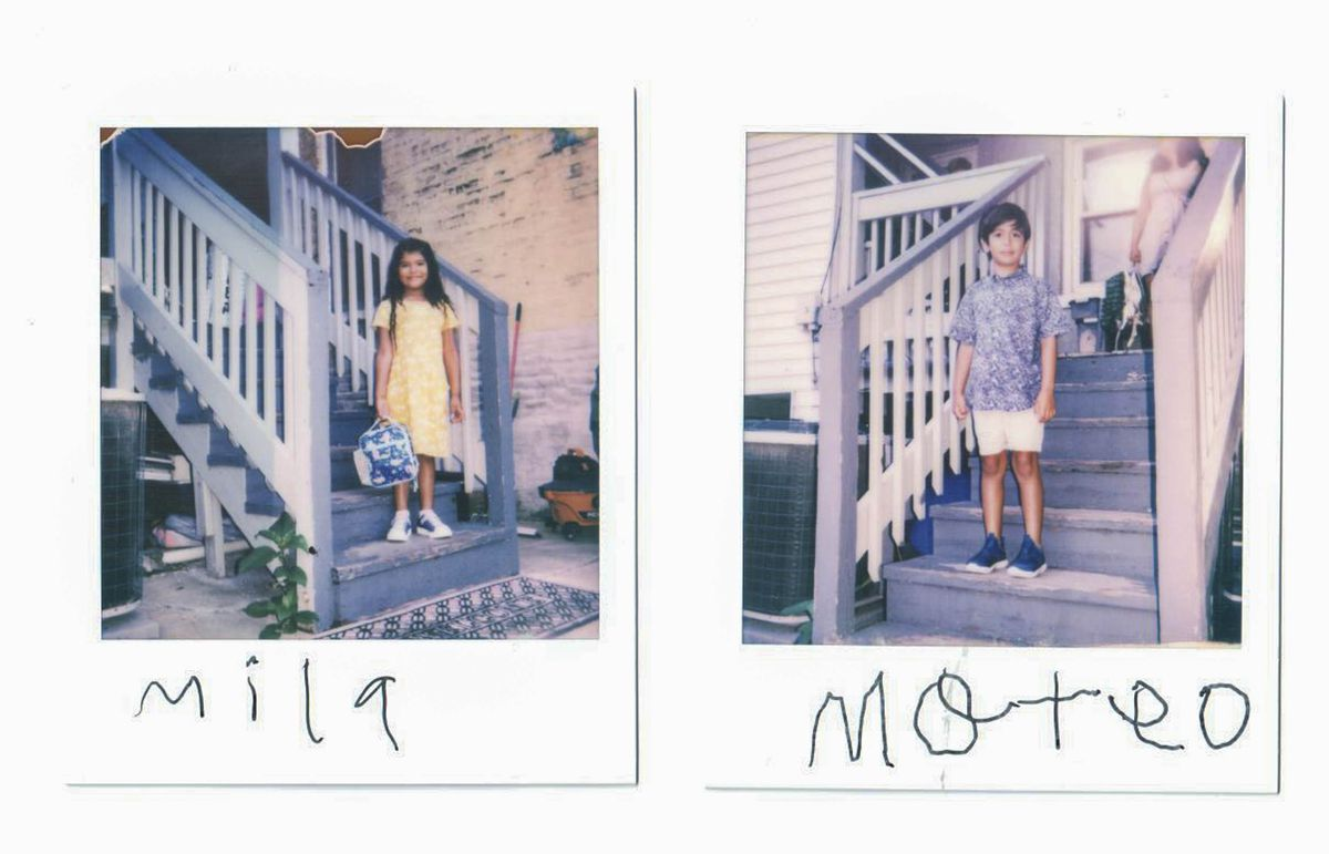 Polaroid portraits of a sister and brother on their front porch before their first day of school. On the left, Mila is wearing a yellow dress and Mateo is wearing a short-sleeved button-up shirt and white shorts on the right.