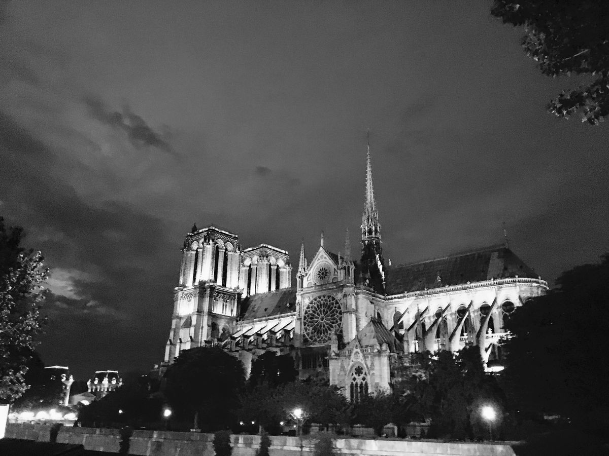 The Cathedral of Notre-Dame de Paris at night.