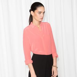 Classic silk shirt in pink, $47 (was $95)