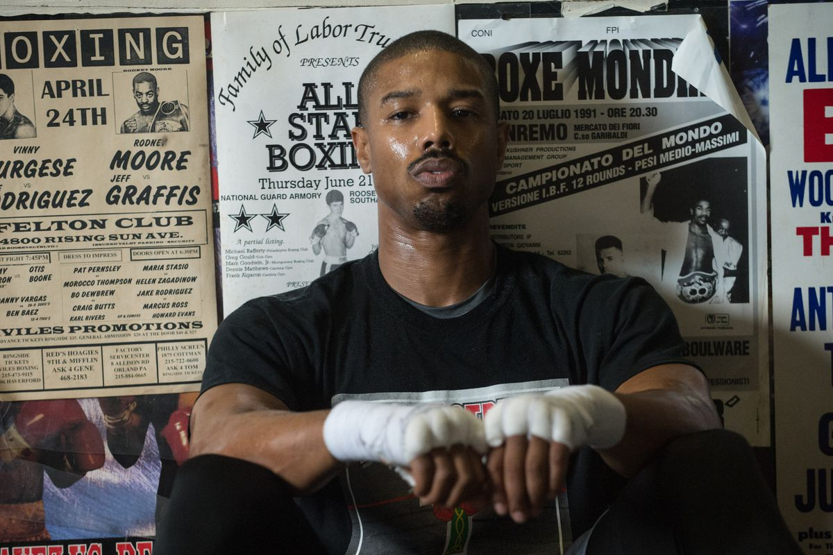 Michael B. Jordan with his wrists taped up in 'Creed'