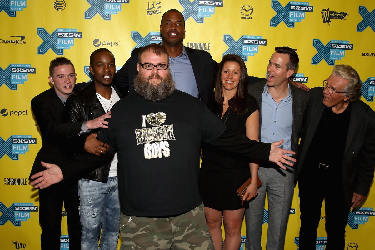 Conner Mertens, Wade Davis, Malcolm Ingram, Jason Collins, Charline Labonte, Cyd Zeigler, and David Kopay attend the premiere of 'Out To Win' during the 2015 SXSW Music, Film + Interactive Festival at Stateside Theater on March 15, 2015 in Austin.