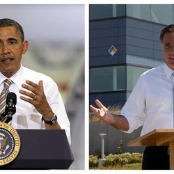 This combination of Associated Press file photos shows from left, President Obama speaking at the TPI Composites Factory, a manufacturer of wind turbine blades on May 24, 2012, in Newton, Iowa, and Republican presidential candidate, former Massachusetts Gov. Mitt Romney speaking at the Solyndra manufacturing facility on May 31, 2012, in Fremont, Calif.