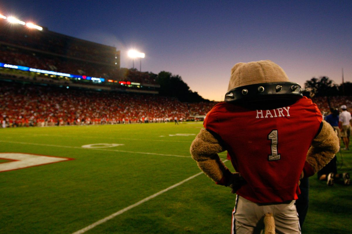 ATHENS, GA - SEPTEMBER 10:  Hairy, mascot of the Georgia Bulldogs, looks on during the game against the South Carolina Gamecocks at Sanford Stadium on September 10, 2011 in Athens, Georgia.  (Photo by Kevin C. Cox/Getty Images)