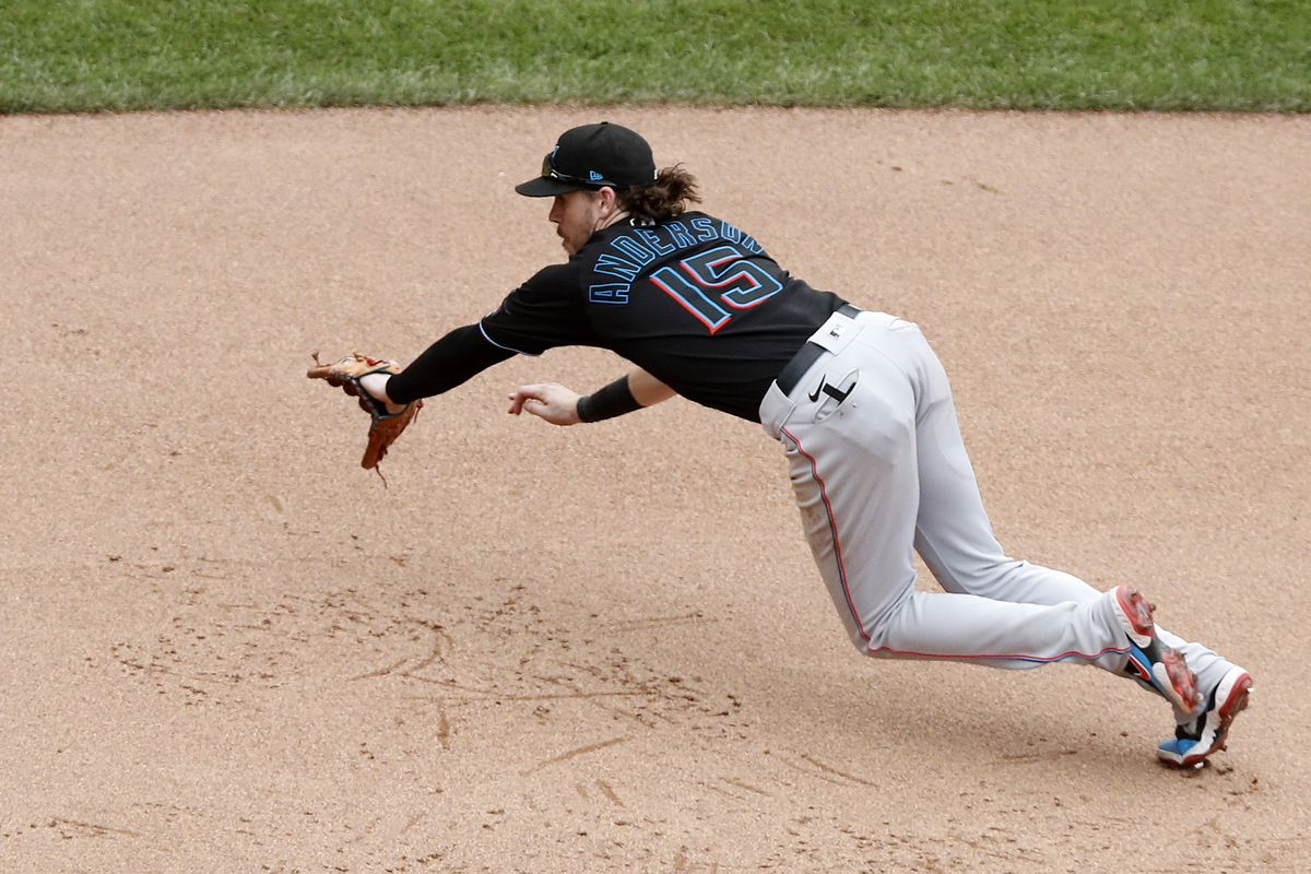 Brian Anderson #15 of the Miami Marlins in action against the New York Mets during the ninth inning at Citi Field on August 31, 2021 in New York City
