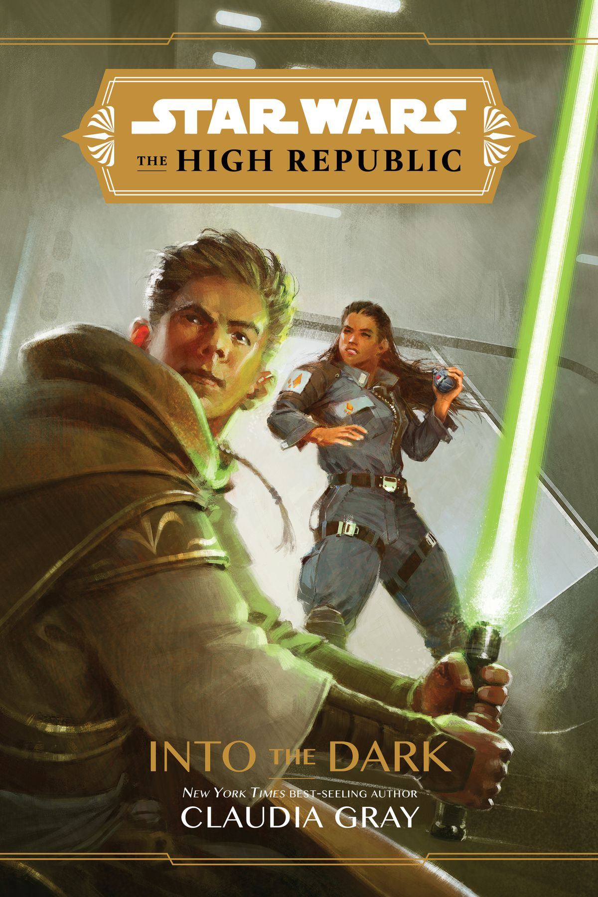 star wars: the high republic: into the dark featuring a dashing jedi with a green saber