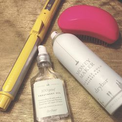"""I freshened up my hair with Arrojo's Dry Shampoo, my curling iron, and a bit of 100 proof treatment oil on the ends. I set the 'do with drybar's """"Money Maker"""" hairspray. I love the way it smells, and I use it interchangeably with the Moroccanoil hairspray"""