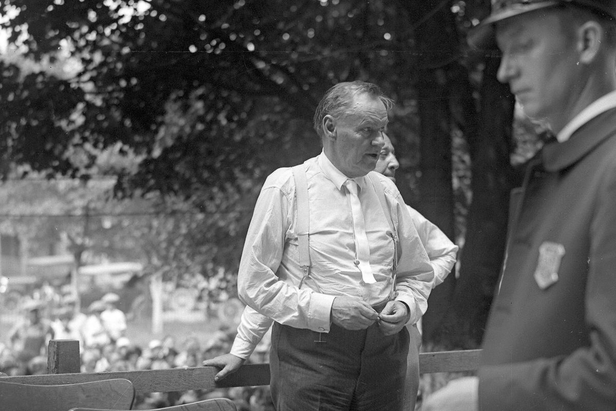 Clarence Darrow outdoors during the trial