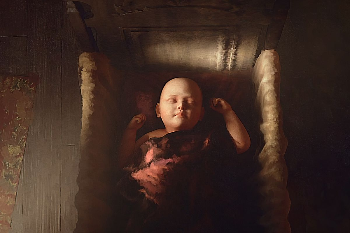 A child in a crib, from the initial announcement trailer of Crusader Kings 3.
