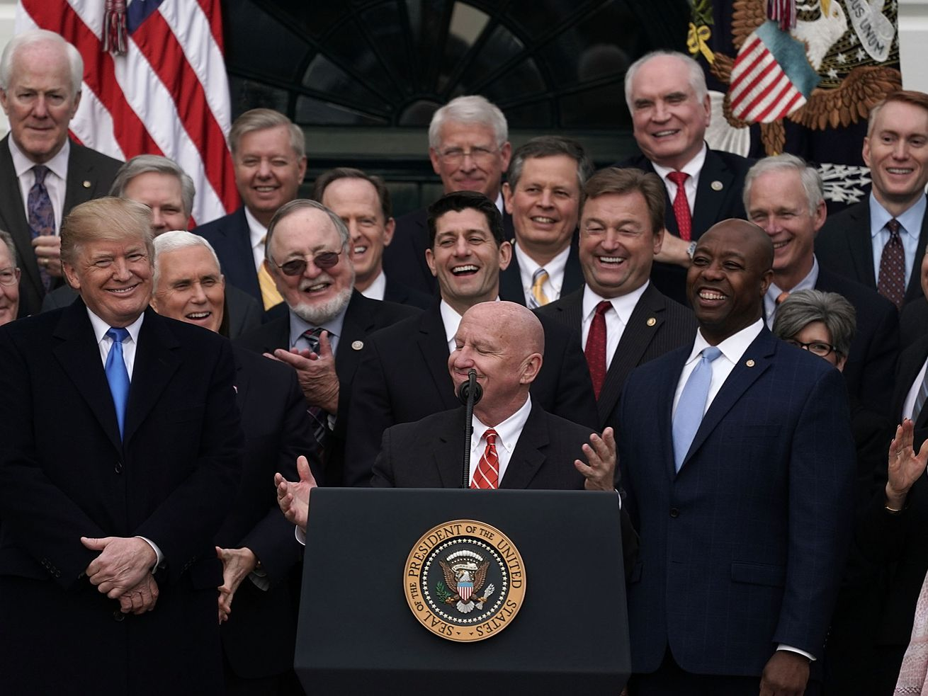 House Ways and Means Committee Chair Kevin Brady speaks at a White House celebration of the GOP's passage of its tax cut bill in December 2017.