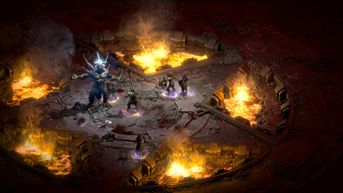 Co-op characters face off against a Diablo 2 boss
