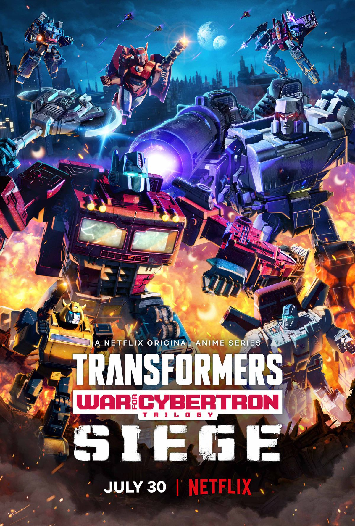 The poster for transformers war for cybertron, featuring Optimus Prime and Megatron fighting