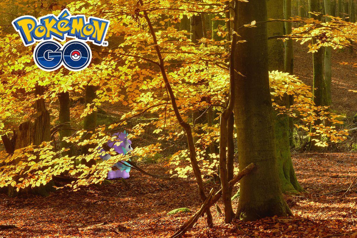 Galarian Ponyta hides among trees