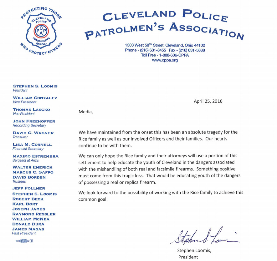 The Cleveland police union's response to the Tamir Rice settlement.