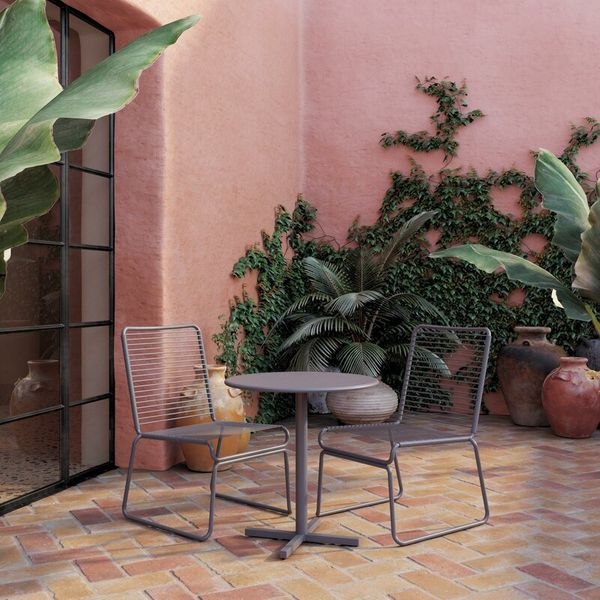 Charcoal-gray finished metal bistro set