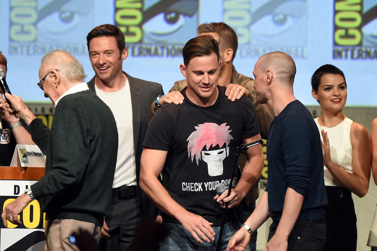 Channing Tatum at Comic-Con in his Gambit shirt.