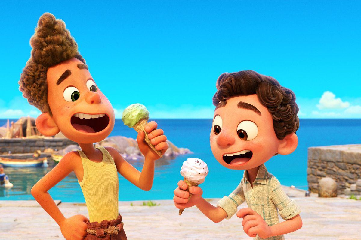 Two cartoon boys eating gelato.