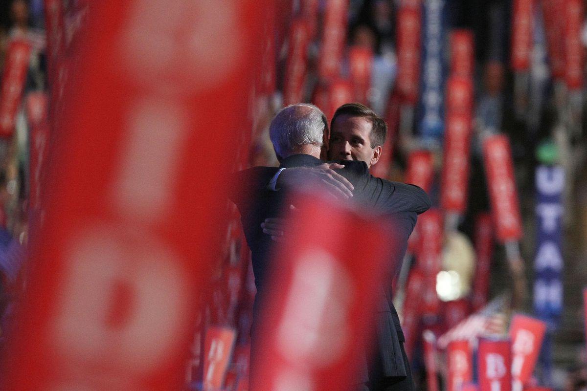 Beau Biden hugs his father, Vice President Joe Biden.