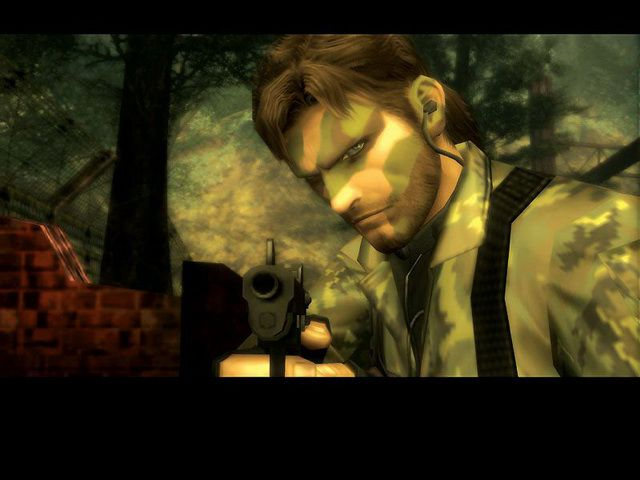 Metal Gear Solid 3: Snake Eater - camouflaged Snake aims pistol