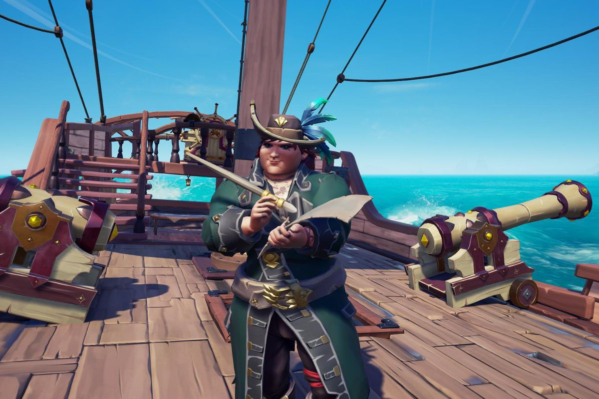 Sea of Thieves - a player makes notes on a piece of parchment, aboard a sloop.