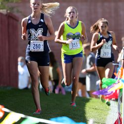 Audrey Camp, front, of Millard, places fourth in the 2A girls high school state cross-country championships in Cedar City on Wednesday, Oct. 21, 2020. Brooke Reed, of Parowan, placed second.
