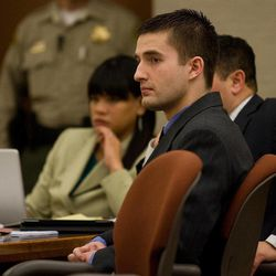 Martin Bond listens to testimony given on the first day of his trial in 4th District Court in American Fork Wednesday, Jan. 16, 2013. Bond is accused of killing former BYU professor Kay Mortensen in November 2009.