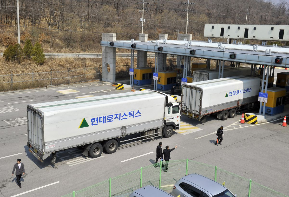 South Korean trucks enter the Kaesong complex in North Korea (JUNG YEON-JE/AFP/Getty)