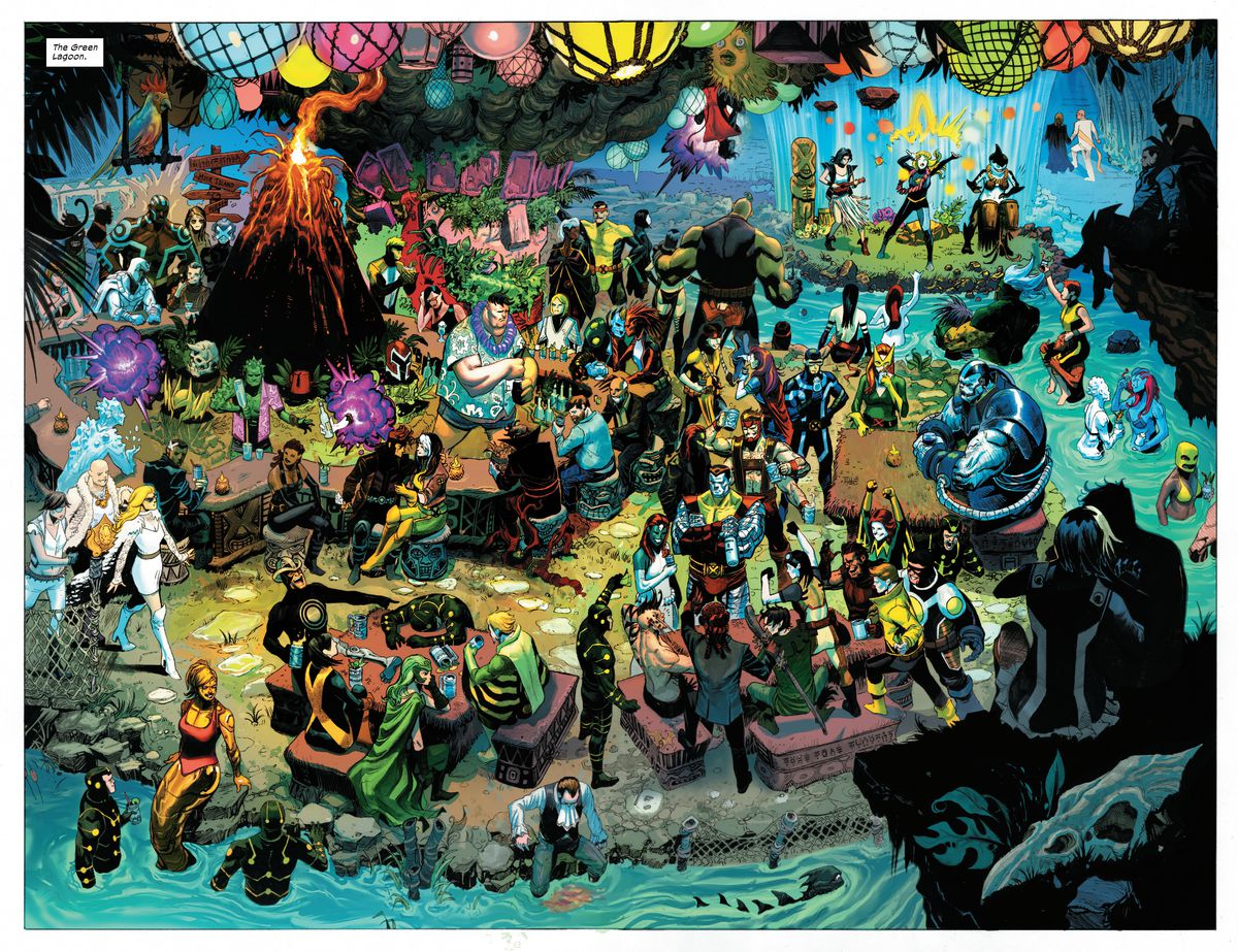 Dozens of X-Men characters drink, swim, carouse, and perform at Krakoa's tiki bar, the Green Lagoon, in X-Force #9, Marvel Comics (2020).