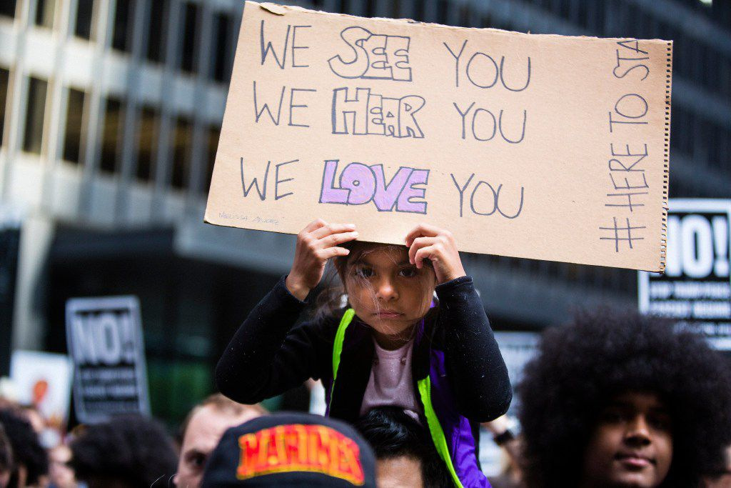Aaliyah Guzman, age 7, at a rally in response to the White House's decision to terminate Deferred Action for Childhood Arrivals. She was there with her father Deiby Guzman, at the Federal Plaza, on Tuesday, Sept. 5, 2017. | James Foster/For the Sun-Times