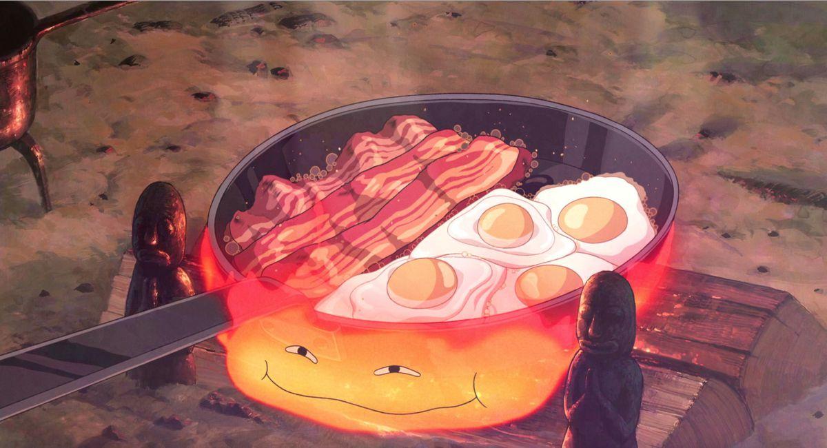 Calcifer makes breakfast, Howl's Moving Castle
