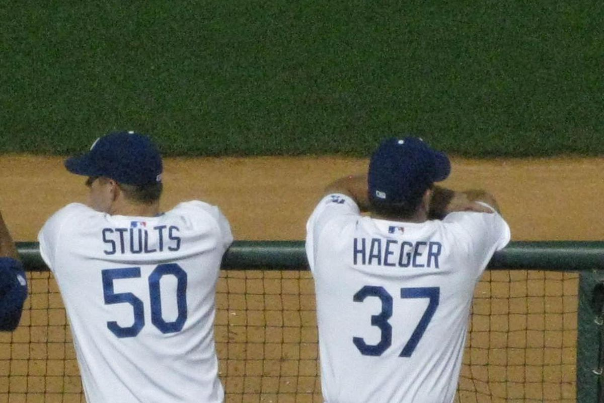 The out of options boys, Eric Stults and Charlie Haeger, are battling for spots on the opening day roster.