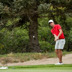 Spanish Fork's Jackson Rhees chips onto the green at the 5A boys state golf tournament at The Oaks at Spanish Fork in Spanish Fork on Tuesday, Oct. 5, 2021.