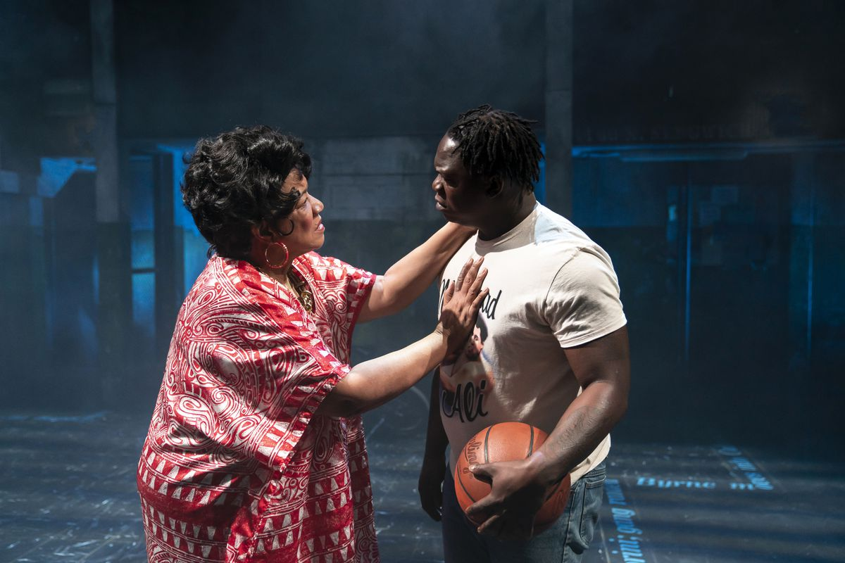 """Renee Lockett and Willie """"MudLife Roc"""" Round in a scene from """"Her Honor Jane Byrne"""" at Lookingglass Theatre."""