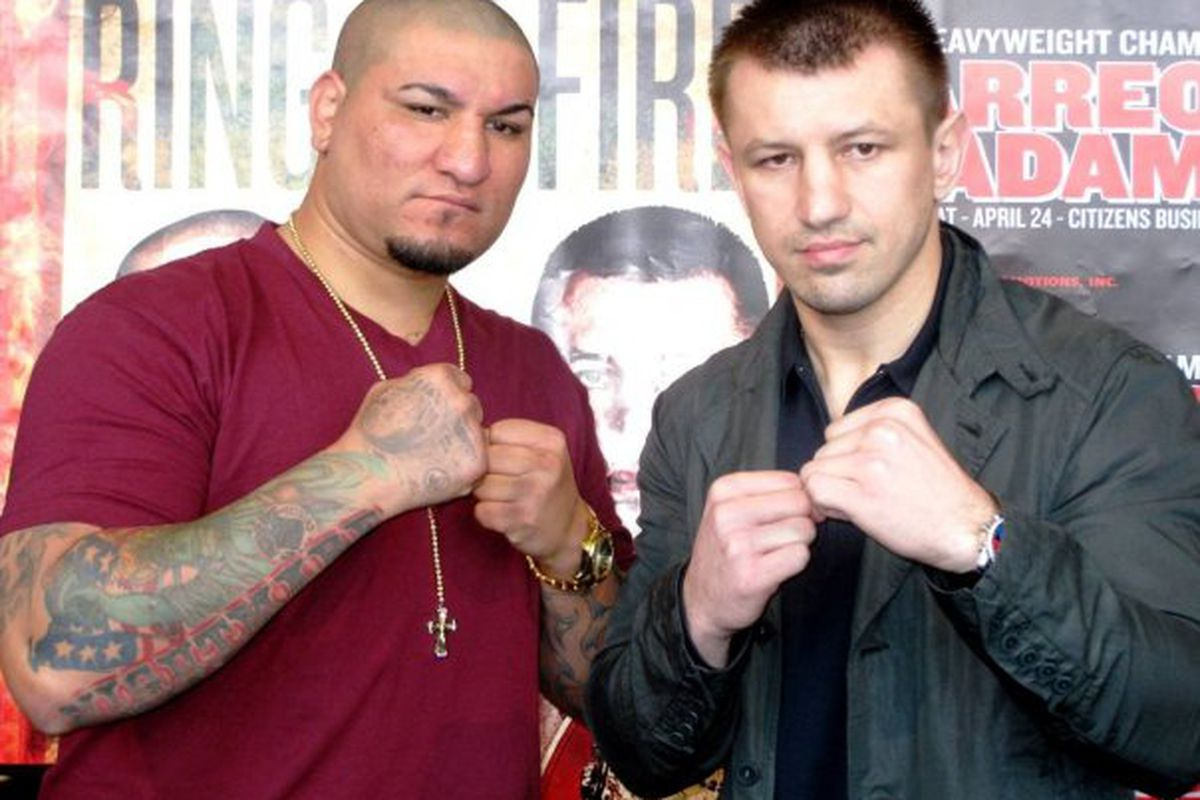"""Cristobal Arreola and Tomasz Adamek meet on Saturday night in California. (Photo via <a href=""""http://www.facebook.com/#!/album.php?aid=154669&id=76572871323"""" target=""""new"""">Main Events @ Facebook</a>)"""
