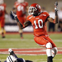 Utah Utes wide receiver DeVonte Christopher (10) looks for a interference call   in Salt Lake City  Sunday, Sept. 16, 2012.