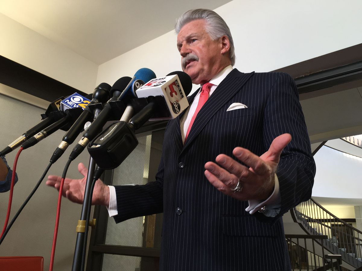 Will County State's Attorney James Glasgow talks to reporters Friday after Drew Peterson was sentenced to an additional 40 years in prison for trying to hire a hitman to kill Glasgow.   Andy Grimm/Sun-Times
