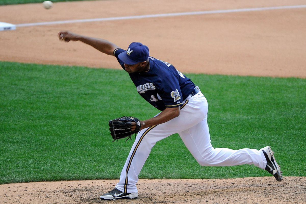May 23, 2012; Milwaukee, WI, USA;   Milwaukee Brewers pitcher Jose Veras (40) pitches in the seventh inning against the San Francisco Giants at Miller Park.  The Brewers beat the Giants 8-5.  Mandatory Credit: Benny Sieu-US PRESSWIRE