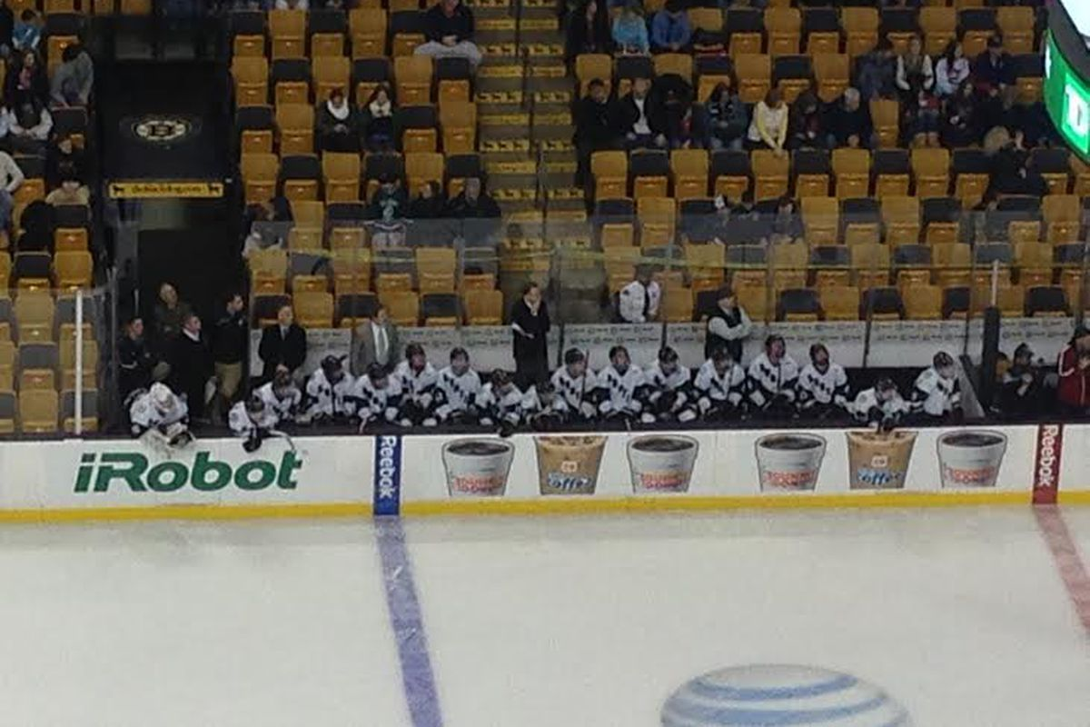 Austin Prep players and coaches on the bench at the TD Garden in Boston on Sunday, March 2, 2014.